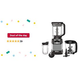 Deal of The Day for Prime Members: Ninja AMZ493BRN Compact Kitchen System with Auto-iQ, Blender Food Processor Combo, Blend, Chop, Mix Doughs, 1200 Watts, Dishwasher Safe 18 Oz. Cup, Black/grey