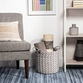 Coiled Rope Fishtail Weave Basket with Faux Leather Accent Gray