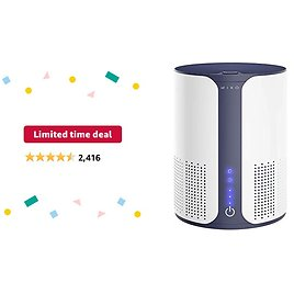 Limited-time Deal for Prime Members: Miko Air Purifier For Home HEPA Filter Air Cleaner For Pets, Allergies, Smoke Odor Eliminator In Large Room, Bedroom, H13 HEPA Air Filter Removes 99.97% Smoke, Pollen, Dust Cleaner With Sleep Mode