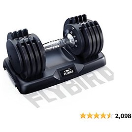 FLYBIRD Adjustable Dumbbell,25/55lb Single Dumbbell for Men and Women with Anti-Slip Metal Handle,Fast Adjust Weight By Turning Handle,Black Dumbbell with Tray Suitable for Full Body Workout Fitness