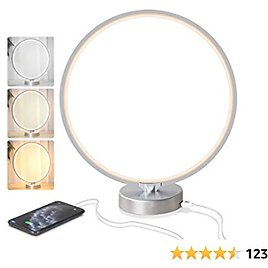 Bedside Lamp,Modern Circle Table Lamp,3 Color Temperature Dimmable Touch Control Stepless Brightness Levels,Timer & Memory Function Desk Lamp with USB Port for Reading,Office, Bedroom (Silver)
