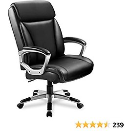 ComHoma Executive Office Chair High Back Comfortable Ergonomic Managerial Chair Adjustable Home Office Desk Chair Swivel Black
