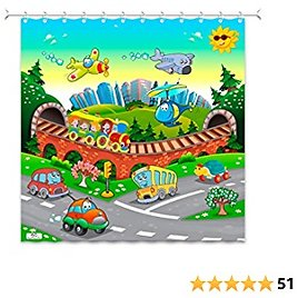 PlayFunLearn Kids Shower Curtain. Train, Planes and Cars. 100% Polyester. Hooks Incl. 72x72 In.