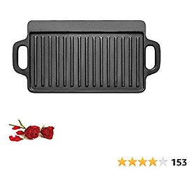 1-Piece 13 X 8 Inch Cast Iron Griddle Plate | Reversible Cast Iron Grill Pan | Double Sided Used On Single Burner | Non -Coating Pre-Seasoned | Versatile Baking Cast Iron Grill…
