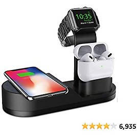 Deszon Wireless Charger IWatch Stand Compatible with IWatch Series SE 6 5 4 3 2 1, AirPods Pro/ 2/1 and IPhone Series 12 SE 11 11 Pro 11 Pro Max Xs X Max XR X 8 8P(No Adapter) Black