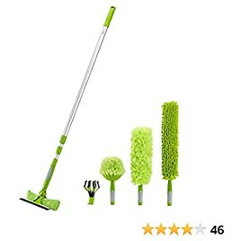Amazon Basics Multi-Purpose Extension Pole Kit - Includes Light Bulb Changer, Swivel Squeegee, and Microfiber Duster