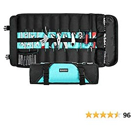 GEARDRIVE Tool Roll Organizer, 21-Pocket Folding Storage with Protective Flap, Roll Up Tool Bag for Wrenches, Pliers, Screwdrivers and Sockets Etc, (Tools NOT Included)