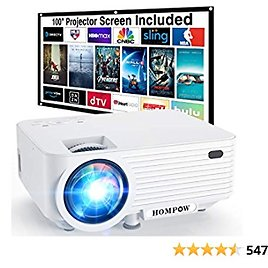 """Video Projector, Native 720P Portable Mini Projector with 100"""" Projector Screen, 1080P Supported Outdoor Movie Projector Compatible with TV Stick/HDMI/VGA/USB/TV Box/Laptop/DVD/PS4 for Home"""