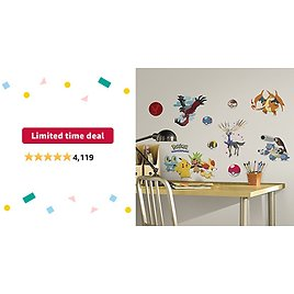 Limited-time Deal: RoomMates Pokemon XY Peel And Stick Wall Decals - RMK2625SCS, Multi
