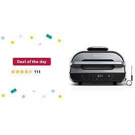 Deal of The Day: Ninja FG551 Foodi Smart XL 6-in-1 Indoor Grill with 4-Quart Air Fryer Roast Bake Dehydrate Broil and Leave-in Thermometer, with Extra Large Capacity, and a Stainless Steel Finish (Renewed)