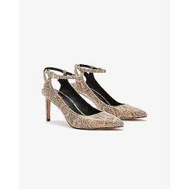 Snakeskin Textured Open Back Pointed Toe Pump