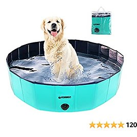 KUANGO Hard Plastic Dog Swimming Pool for Medium Large Dogs with Storage Bag, Durable Collapsible Doggie Puppy Pool Pet Bathing Tub, Wading Foldable Summer Paws Dog Pool Kiddie Pool Outdoor Duck Pool