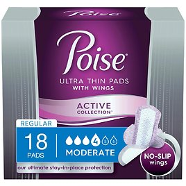 Poise Active Collection Moderate Absorbency Incontinence Pads with Wings