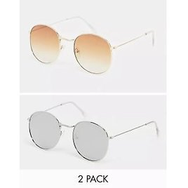 SVNX 2-pack Hexagon Sunglasses in Brown Ombre with Yellow Lens