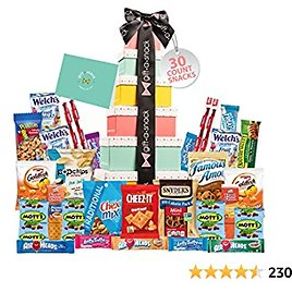 Tower Snack Box Variety Pack Care Package (30 Count) Graduation 2021 Prime Gift Basket - College Student Crave Food Arrangement Candy Chips Cookies - Birthday Treat for Women Men Adult Kid Teens