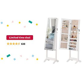 Limited-time Deal: LUXFURNI LED Light Jewelry Cabinet Standing Full Screen Mirror Makeup Lockable Armoire, Large Cosmetic Storage Organizer w/ Brush Holder White (White)