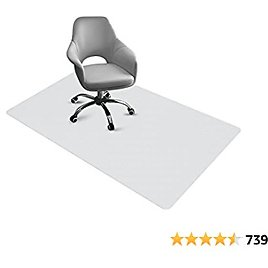 """Chair Mat for Hard Floors Office Floor Mat PVC Transparent Office Computer Easy Glide for Chairs Non-Slip Durable 48""""×36"""" 2mm Thick for Office Home Hard Floor Protector"""