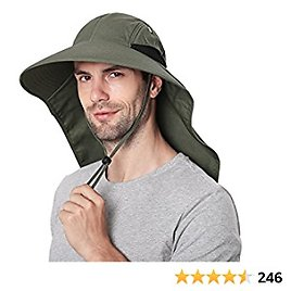 Outdoor Sun Hat for Men with 50+ UPF Protection Safari Cap Wide Brim Fishing Hat with Neck Flap, for Dad