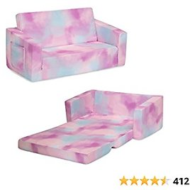 Delta Children Cozee Flip-Out Sofa - 2-in-1 Convertible Sofa to Lounger for Kids, Pink Tie Dye