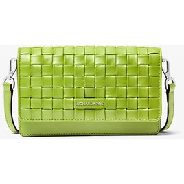 Jet Set Small Woven Leather Smartphone Convertible Crossbody Bag