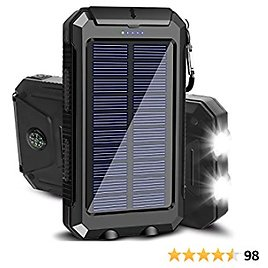Solar Charger 20000mAh Portable Outdoor Waterproof Solar Power Bank, Camping External Backup Battery Pack Dual 5V USB Ports Output, 2 Led Light Flashlight with Compass (Black)