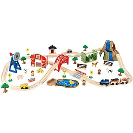 KidKraft Wooden Rural Farm Train Set with 75 Pieces, Children's Toy Vehicle Playset, Gift for Ages 3+