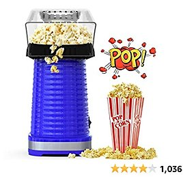 Hot Air Popcorn Maker Machine, Popcorn Popper for Home, ETL Certified, No Oil, Healthy Snack for Kids Adults, Removable Measuring Cup, Perfect for Party Birthday Gift, Blue-1200W