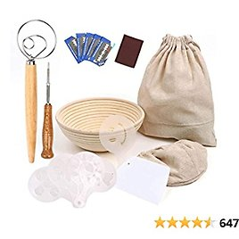 """QUIENKITCH Bread Proofing Basket Set, 9"""" Round Rattan Basket with Liners- Includes Storage Bag & Scoring Lame & Dough Whisk & Scraper & Stencils for Professional & Home Baker"""