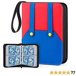 WEWOW Carrying Case Binder Compatible with Pokemon Card, Trading Card Binder Holds Up to 400 Cards Include 50 Premium 4-Pocket Sheets, Portable Card Sleeve Collector Album Holder for Baseball TCG