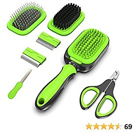 Dog Brush 7-in-1 Kit, Cat Brush 2 Sided Pet Grooming Tool for Deshedding, Mats & Tangles Removing, ZolooPet
