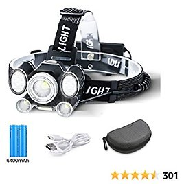 OUTERDO 24 LED Rechargeable Headlamp,9 Light Modes Head Torch with Red/Blue Light/45° Reading Light,Zoomable Waterproof Headlamp with USB Cable 2 Batteries for Camping Fishing,Car Repair,Outdoor