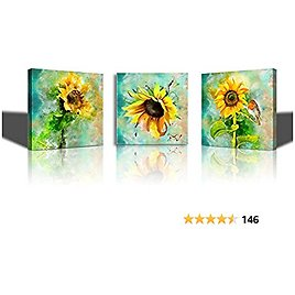 Yellow Sunflower Flower Framed Wall Art Paintings for Living Room Canvas Print Wall Artworks Bedroom Decoration, 12x16 Inch/piece, 3 Panels Office Kitchen Bathroom Wall Decor Posters Home Decorations