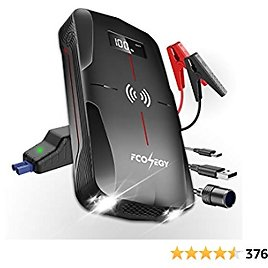 FCONEGY Car Jump Starter 1600A Peak 18000mAh 12V Portable Auto Battery Booster Safe Power Pack with Wireless Charger, USB Quick Charge,LCD Screen, LED Flashlight(up to 7.0L Gas, 5.5L Diesel Engine)