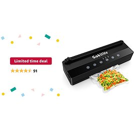 Limited-time Deal: Vacuum Sealer Machine, Gokilife Automatic Food Saver with 3 Food Modes, Built in Cutter Vacuum Air Sealing System for Jar, Meal Packing with Low Machine Noise (Balck)