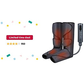 Limited-time Deal: CINCOM Foot and Leg Massager with Heat, Air Compression Leg Massager for Circulation and Muscles Relaxation - 3 Modes, 3 Intensities, 2 Heating Super Quiet