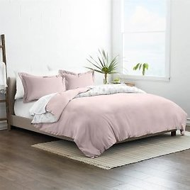 3-Piece Reversible Duvet Cover Set - Pink (Twin or Full/Queen)
