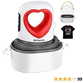 """Mini Heat Press with Automatic Vibration, Gr8ware Upgraded 3.5""""x2.3"""" Small Heat Press Machine for T Shirts Shoes Hats Bags and Masks, 150W Mini HTV Iron-On Rolls"""