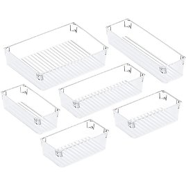 Shop Now Last Update 2 Hrs Ago Puroma Desk Drawer Organizer Trays with 3-Size Versatile Drawer Dividers 6 Organizers