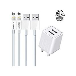 2-Pack Kozopo 6Ft Fast Charging Lightning Cable with Wall Charger for $3.99