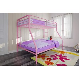 DHP Twin-Over-Full Bunk Bed with Metal Frame and Ladder