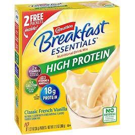 Carnation Breakfast Essentials High Protein Powder Drink Mix, Classic French Vanilla, 10 Packets, 6 Count