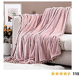 Sylanfia Blush Pink Throw Blankets with Pompom, Lightweight Fuzzy Blanket for Couch, Flannel Cozy Bed Blanket Suitable for All Season (51x63 Inches)