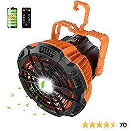 RUNACC Camping Fan with LED Lantern - 5200mAh Battery Portable Tents Ceiling Fan with LED Light & USB Rechargeable Desk Fan with Remote Control for Camping Home Office