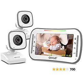"""Video Baby Monitor, 4.3"""" High Resolution Display, 2 Cams for 2 Rooms, 18-Hour Battery Life, 1000ft Range, 2-Way Communication, Secure Privacy Wireless Technology"""