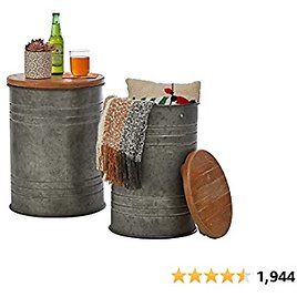 Glitzhome Rustic Storage Ottoman Seat Stool, Farmhouse End Table, Galvanized Metal Accent Side Table Toy Box Bin with Round Wood Lid for Living Room Furniture, Nesting Pieces Two, Grey