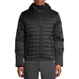 SwissTech Men's Hooded Softshell Quilted Mixed Media Jacket (2 Colors)