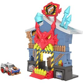 Boom City Racers - Fireworks Factory - 3 in 1 Transforming Playset - Rip, Race, Explode | Includes Exclusive Collectible Car - T