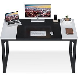 """ODK Computer Desk 47"""" with Splice Board, Study Writing Table for Home Office, Modern Simple Style PC Gaming Desk, Black and Whit"""