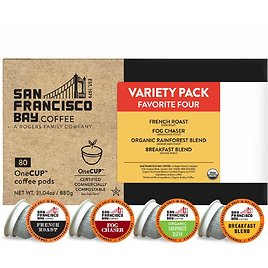 80-Count SF Bay Coffee Variety Pack Compostable Coffee Pods for $13.99