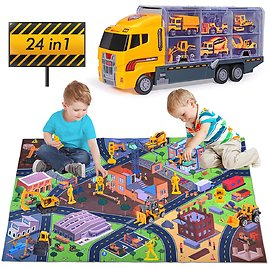 Yunaking 24-in-1 Construction Vehicles Truck Toys Set with Play Mat for $16.39